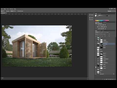 3D Visualization | 3D Render - Garden Office Post Production Steps