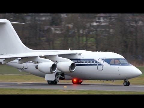 BAe 146-100 Formula One Management Take Off at Airport Bern-Belp