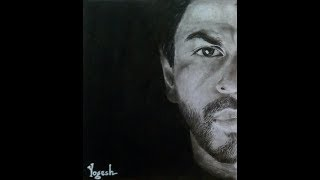 Shahrukh Khan Sketch with graphite and medium charcoal (time lapse)