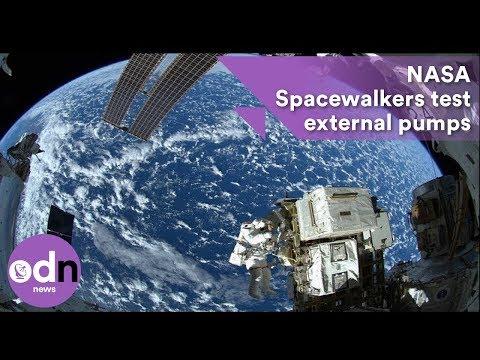 NASA Spacewalkers test external pumps