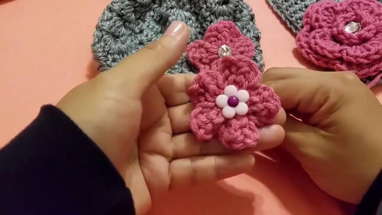Flor en crochet ganchillo para gorros diademas vestidos - Diademas a crochet ...