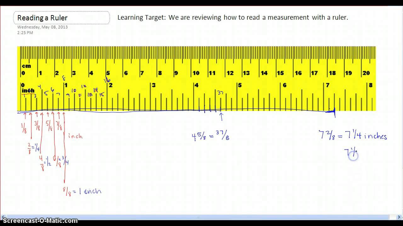 How to read measurements on a ruler. - YouTube