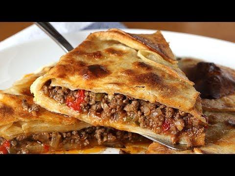 SIN MASA. Empanada de carne hecha con tortillas de trigo. Más fácil imposible!