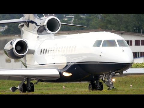 Dassault Falcon 7X Executive Jet Charter Take-Off at Bern