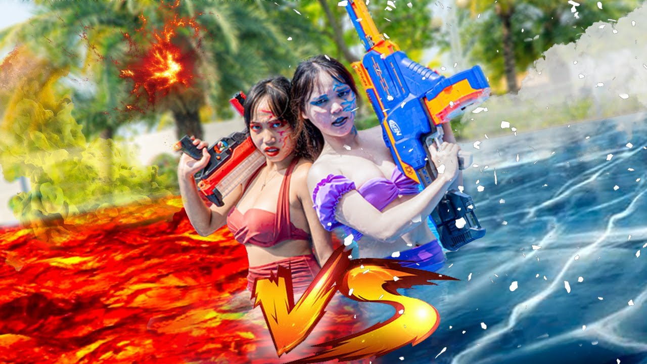 Action Nerf: FIRE and ICE PRANK BATTLE  Ice Girl Nerf Guns Troll Criminal Underwater Rescue MERMAID