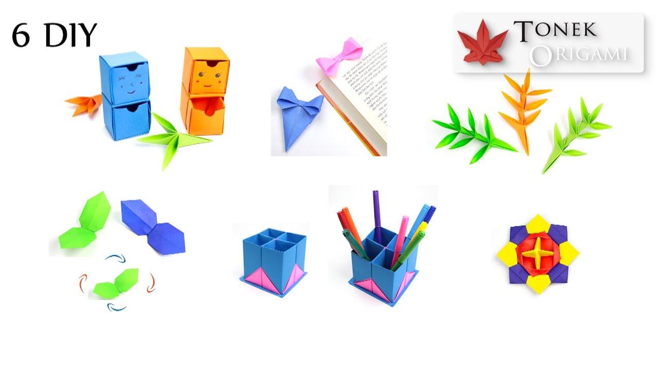 Hướng dẫn gấp 6 Chiếc Hộp, chiếc lá, hộp đựng bút, con quay - 6 DIY Origami  Paper Tutorial - Collectif-du-chambon