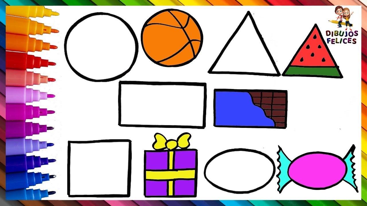 Aprender A Dibujar Y Colorear Las Formas Geometricas De Colores 🟠🏀🔺🟩🎁 Dibujos Para Niños