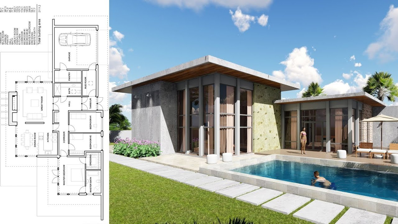 Sketchup One Story House 3bedroom Exterior Design From