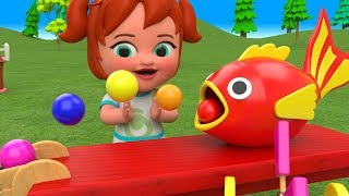 Color Balls Wooden Fish Slider ToySet 3D Kids Learn Colors for Children Little Baby Girl Cartoons