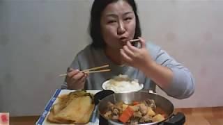[Pork ribs mukbang] 간단히 갈비찜🍖&김치찜🍲~먹방