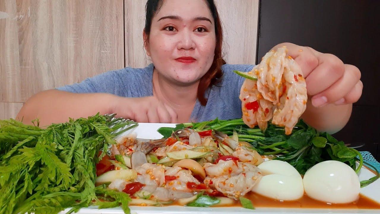 ตำแตงกุ้งสด ไข่ต้ม ทอดพุงปลาแซลมอน 9 กรกฎาคม ค.ศ. 2020