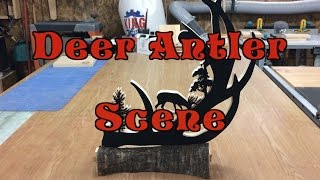 simple scroll saw project of a Deer antler scene with a live edge piece of cherry as a base Check out my Facebook page at: https://