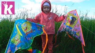 Запускаем воздушный змей Губка Боб Flying Kite Spanch Bob Square Pants