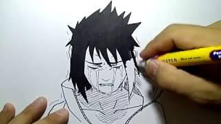 cara menggambar sasuke menangis / how to draw sasuke cry