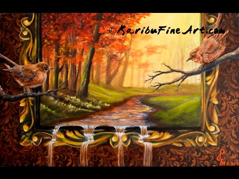 Painting tutorial Autumn surreal scene Acrylic underpainting Part1