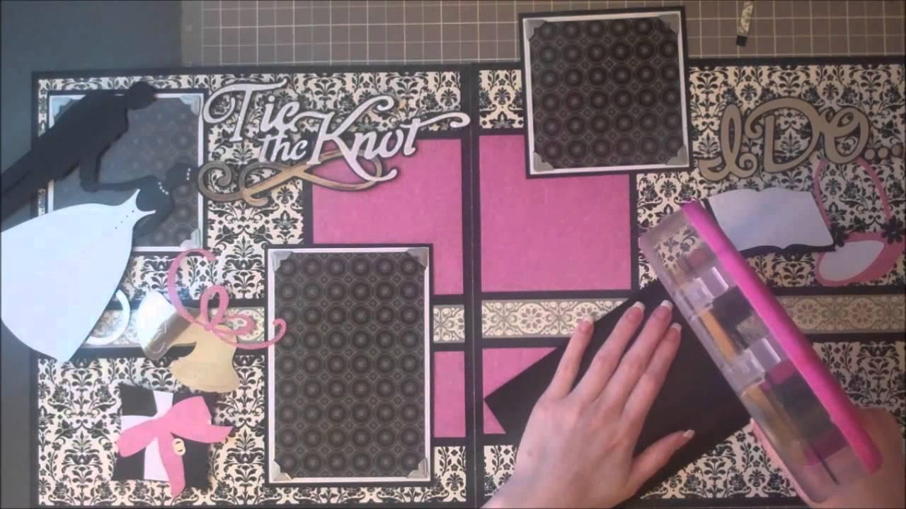 Faith Abigail Designs  Wedding Album Series Tie the Knot Double Scrapbook Layout  YouTube