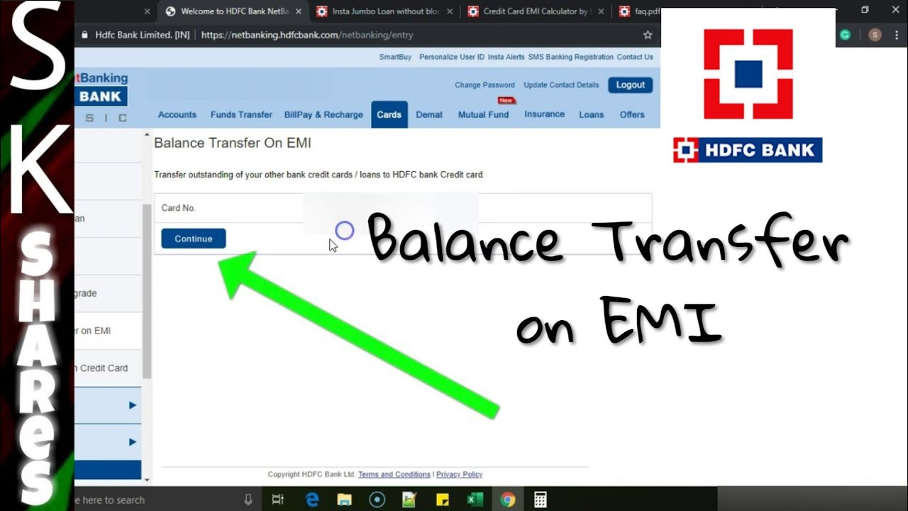 fund transfer from credit card hdfc