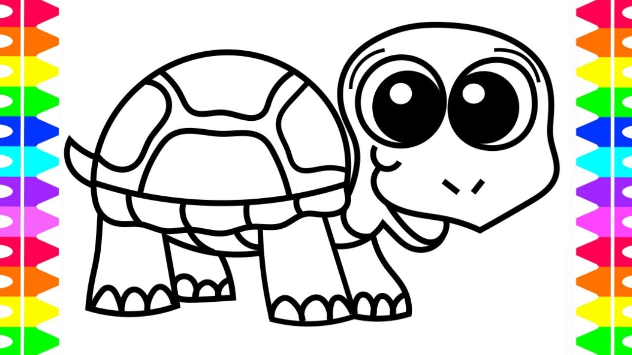 How to Draw a Happy Baby TURTLE Coloring Pages| Art Colors for Kids ...