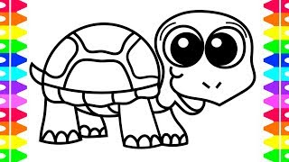 How to Draw a Happy Baby TURTLE Coloring Pages| Art Colors for Kids with Colored Markers