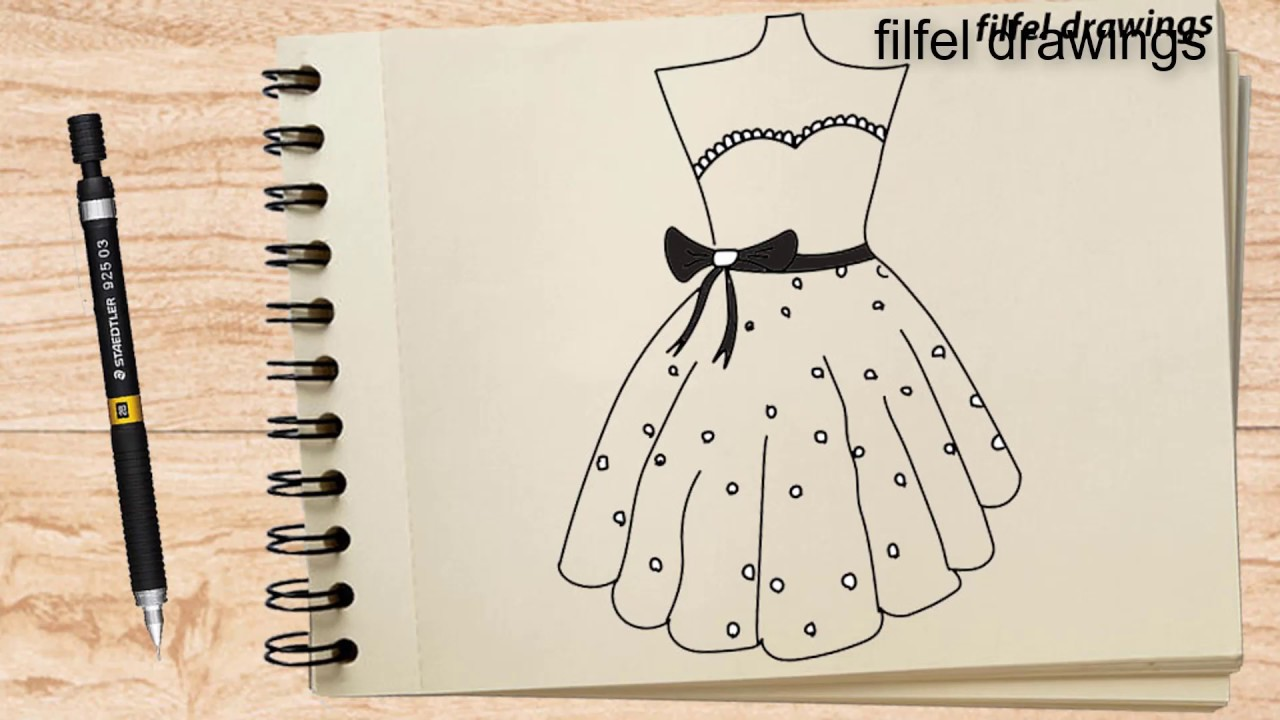 Easy Drawing Pencil Drawing Draw A Dress Dress Design Step By Step Youtube