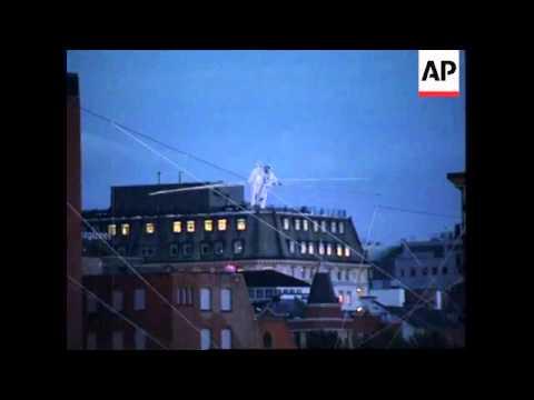 UK - Tightrope walkers cross Thames