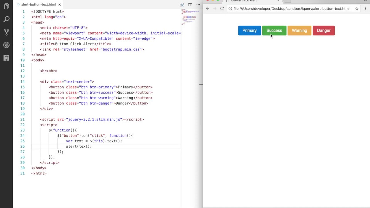javascript button alert example