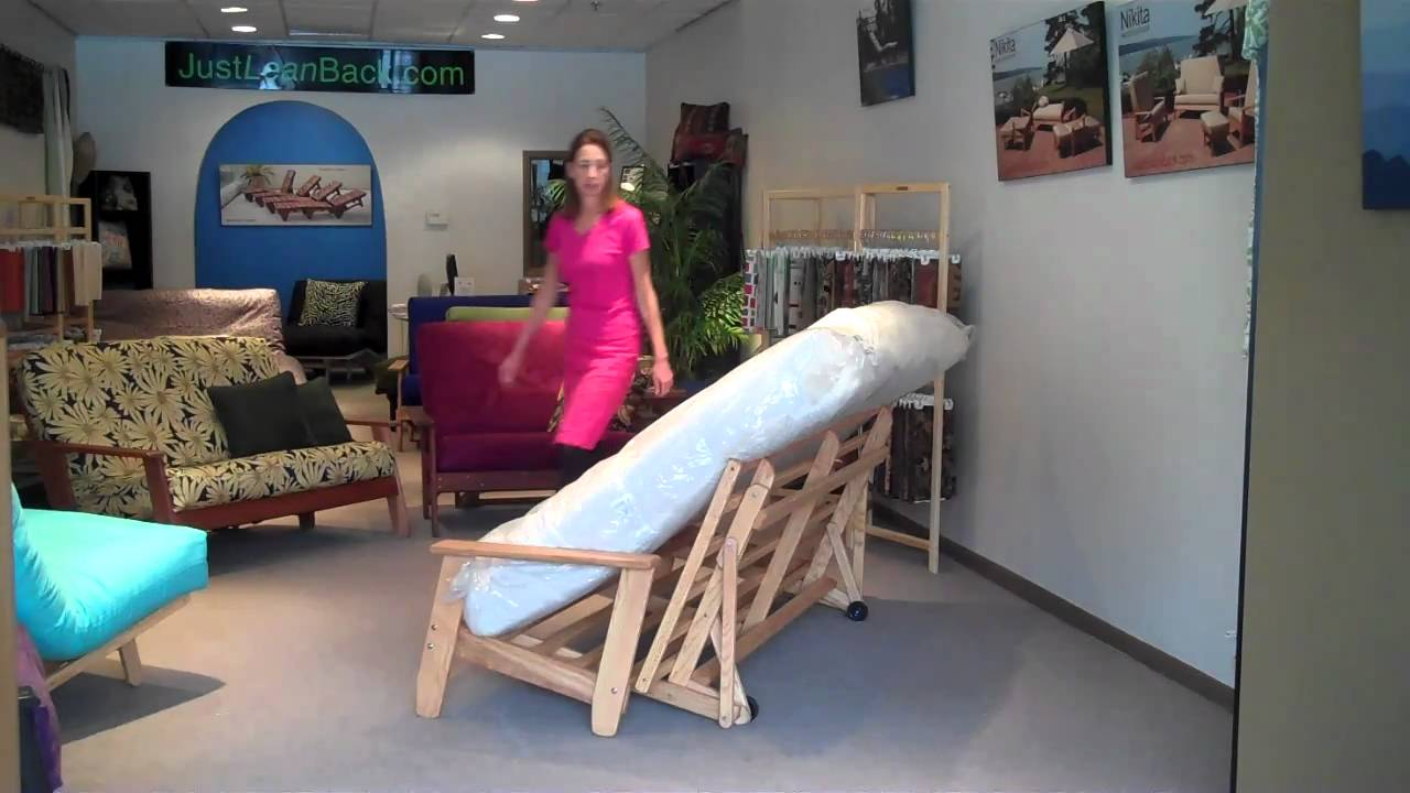 How to Bend A Thick Futon Mattress into Sofa Position YouTube
