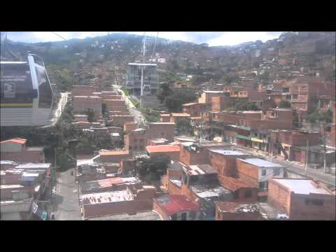 A ride in the Cable Car of Medellin Colombia - Full trip - Teleférico Medellin - Téléphérique
