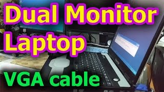 How to connect Laptop to Monitor (VGA cable, Dual Monitor)