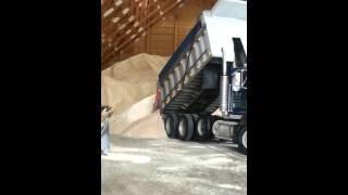 Dump truck unloading salt at the salt mine