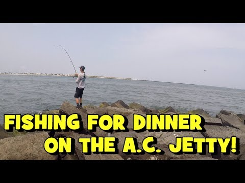 Fishing For DINNER On The A.C. JETTIES!!! Ft. Dillon L. Fishing