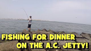 Fishing for DINNER oฑ the A.C. JETTIES!!! Ft. Dillon L. Fishing