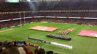 Wales VS Georgia Rugby live National anthems, Amazing entrance flames & fireworks 2017