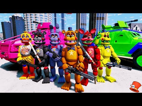 ROCKSTAR ANIMATRONIC CRIME FIGHTING SQUAD! (GTA 5 Mods For Kids FNAF RedHatter)