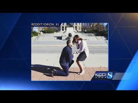 Iowa engagement photo goes viral over perfect heart