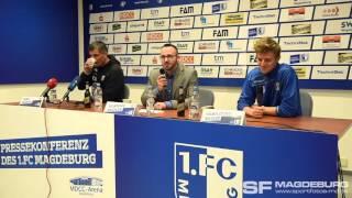 Pressekonferenz vor dem Spiel - 1. FC Magdeburg gegen Holstein Kiel - www.sportfotos-md.de