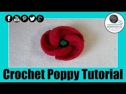 Crochet Poppy Design 3 of 3 Tutorial 500 Poppies Project