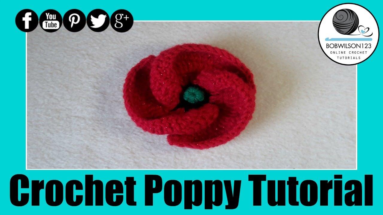 Crochet Poppy Design 3 Of 3 Tutorial 500 Poppies Project Youtube