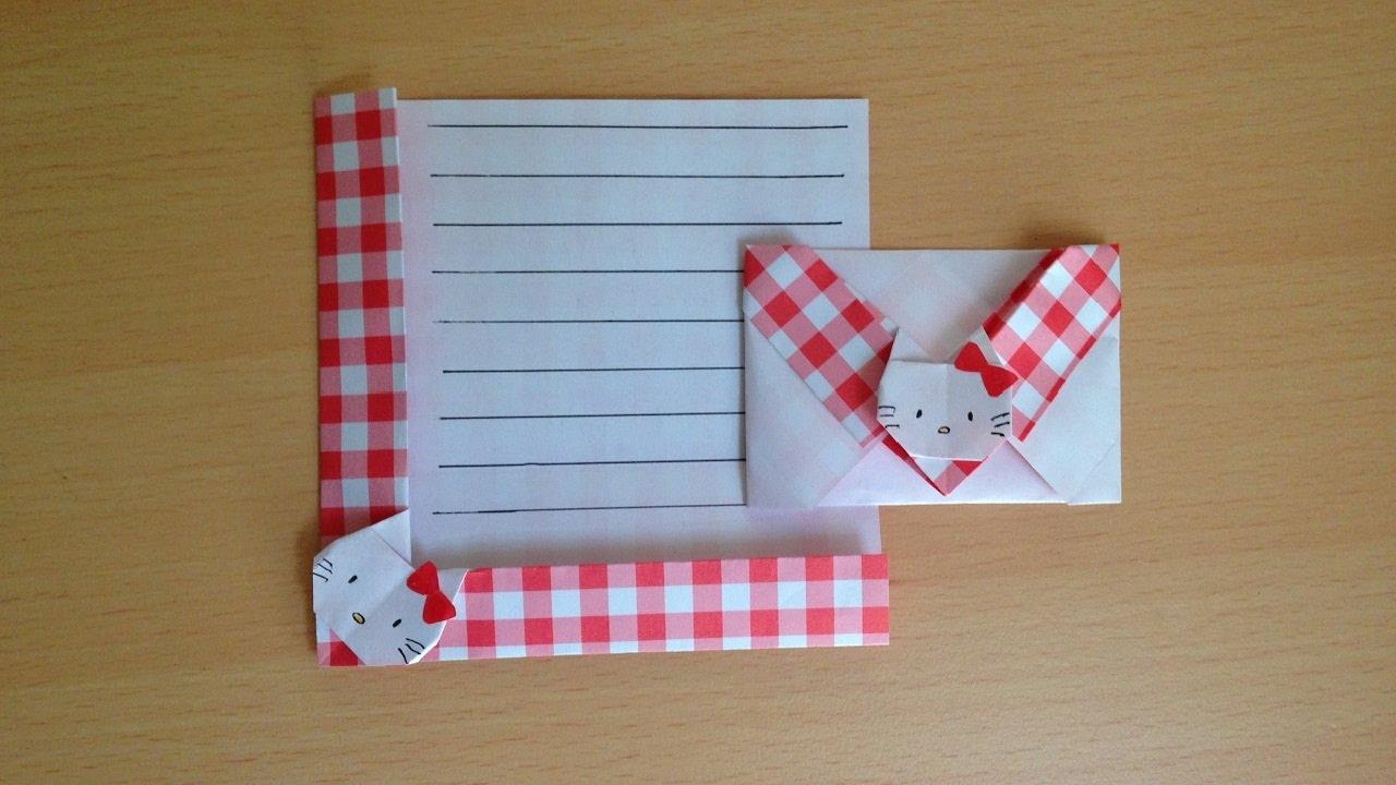 折り紙のキティちゃん 便箋 簡単な折り方niceno1origami Hello Kitty