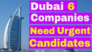 Dubai 6 Companies Need Urgent Candidates    Jobs in Dubai