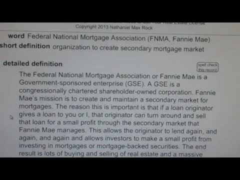 Federal National Mortgage Association (FNMA, Fannie Mae) CA Real Estate License VocabUBee.com