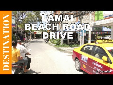 Lamai Beach Road by day – Koh Samui attractions – Thailand holiday – 4K Video