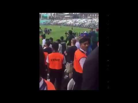 PAKISTANI FAN ABUSING KOHLI SHAMI DHONI SAYING KON HAI BAAP - BEATEN BY INDIAN FAN FULL VIDEO