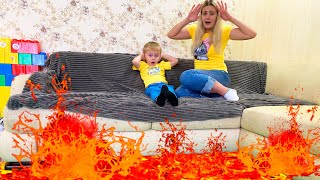 The Floor is lava and kids video with Timur