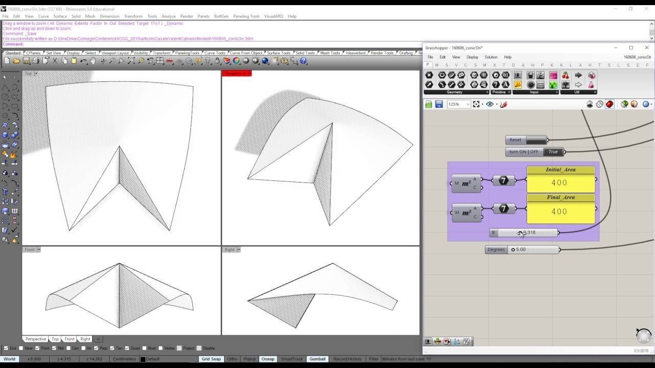 Origami with curved Face - Grasshopper 3D - YouTube