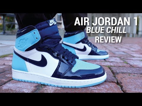 Air Jordan 1 Blue Chill Unc Patent Leather Review On Feet Youtube