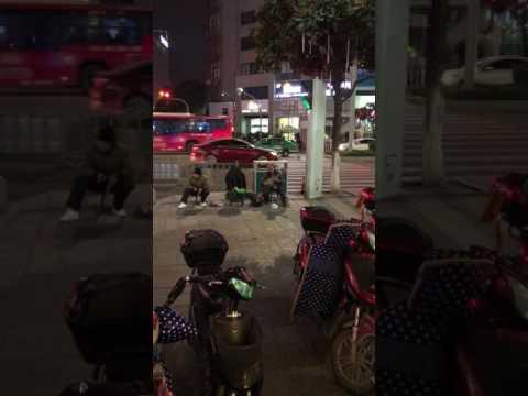 People performing on the street in Old Bund, Ningbo, China