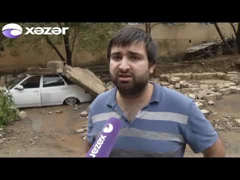 Bakıda güclü yağış: 8 avtomobil dağıntılar altında qalıb, 2 evə ziyan dəyib