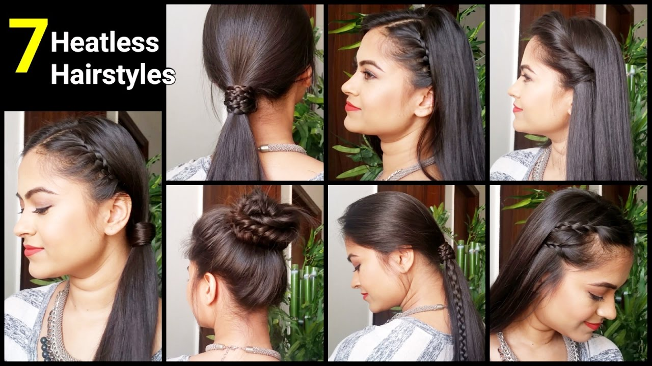 7 heatless hairstyles, quick&easy everyday hairstyles for medium/long hair//indian hairstyles