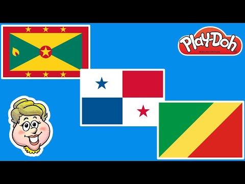Play-Doh Flags! Grenada, Panama, and Congo! EWMJ #476